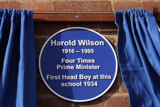 Blue Plaque for Harold Wilson Manufactured by Croft Cast Signs