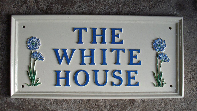 Contemporary Cast Metal House Sign