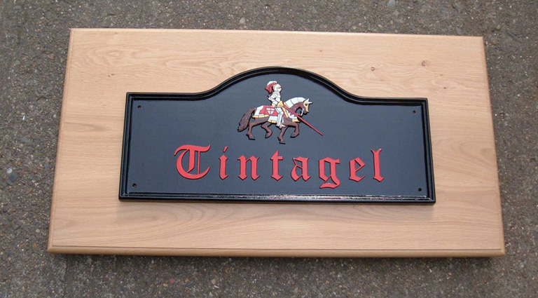 Cast Metal House Sign with Knight on Horse